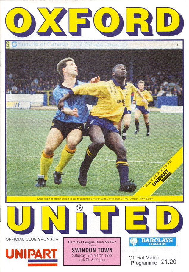 <b>Saturday, March 7, 1992</b><br />vs. Oxford United (Away)