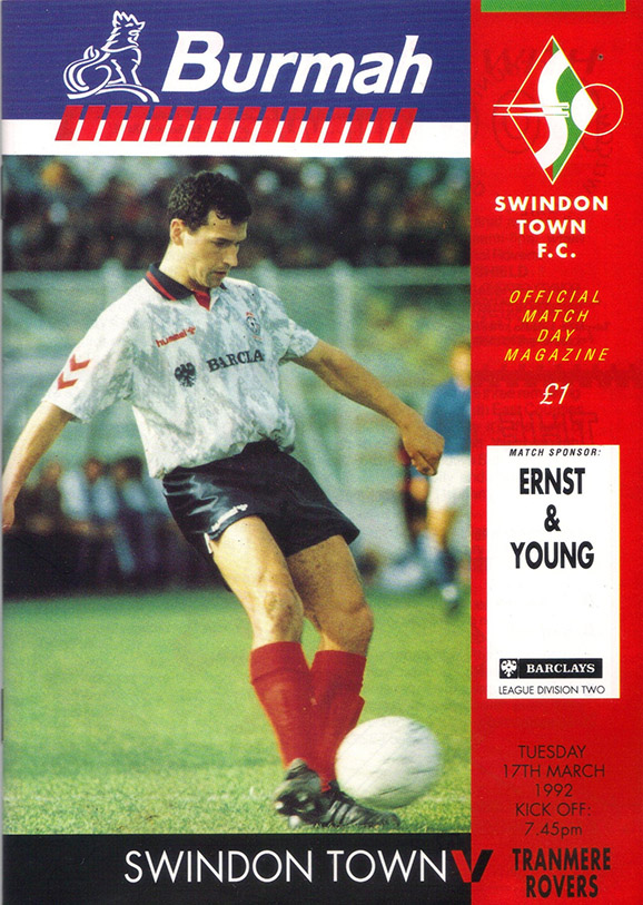 <b>Tuesday, March 17, 1992</b><br />vs. Tranmere Rovers (Home)