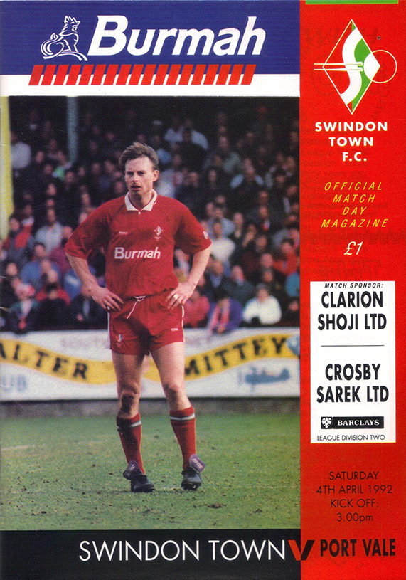 <b>Saturday, April 4, 1992</b><br />vs. Port Vale (Home)