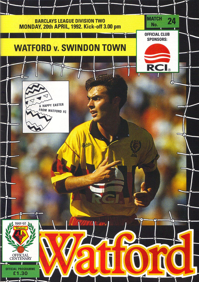<b>Monday, April 20, 1992</b><br />vs. Watford (Away)