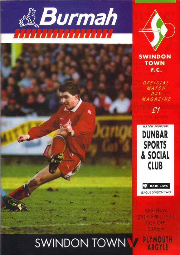 <b>Saturday, April 25, 1992</b><br />vs. Plymouth Argyle (Home)