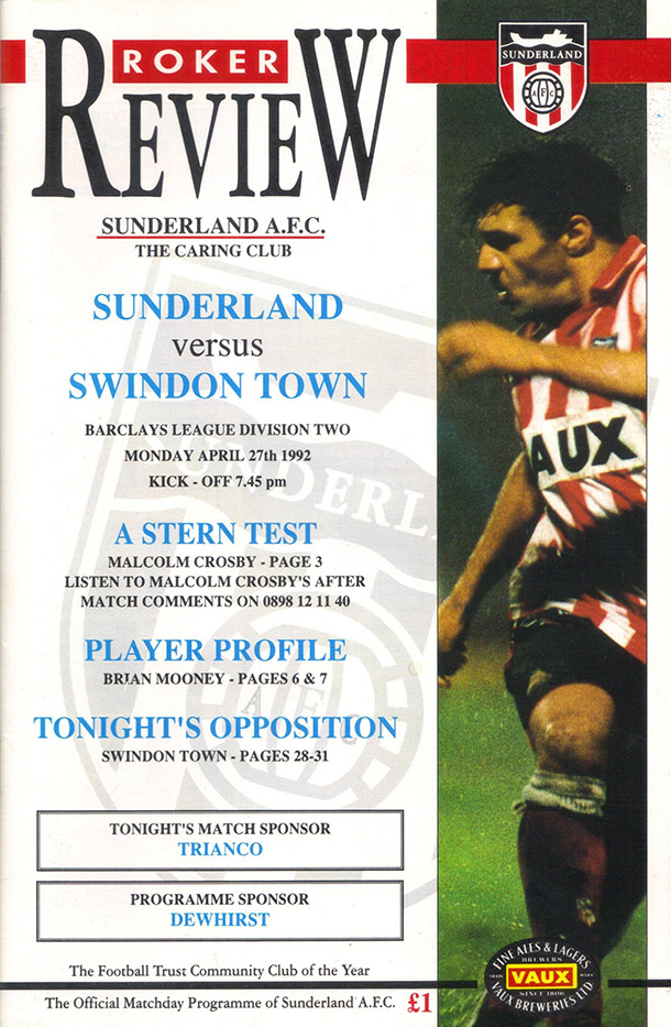 <b>Monday, April 27, 1992</b><br />vs. Sunderland (Away)