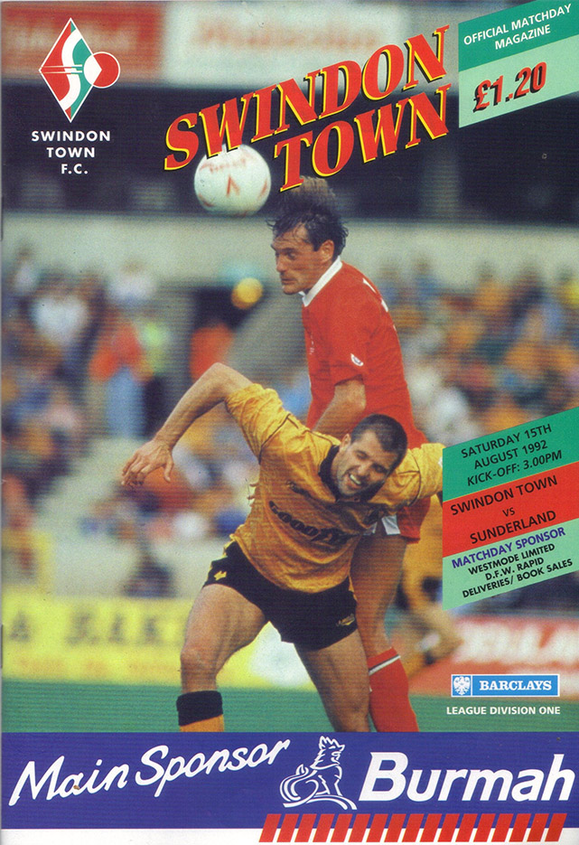 <b>Saturday, August 15, 1992</b><br />vs. Sunderland (Home)
