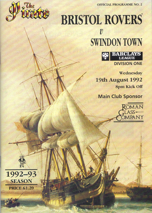 <b>Wednesday, August 19, 1992</b><br />vs. Bristol Rovers (Away)