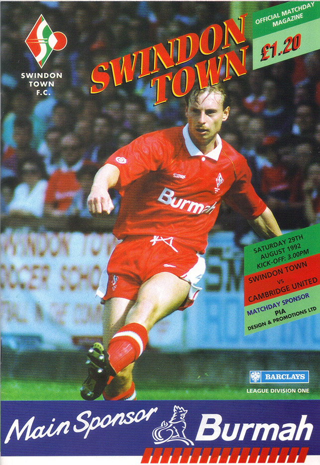 Saturday, August 29, 1992 - vs. Cambridge United (Home)