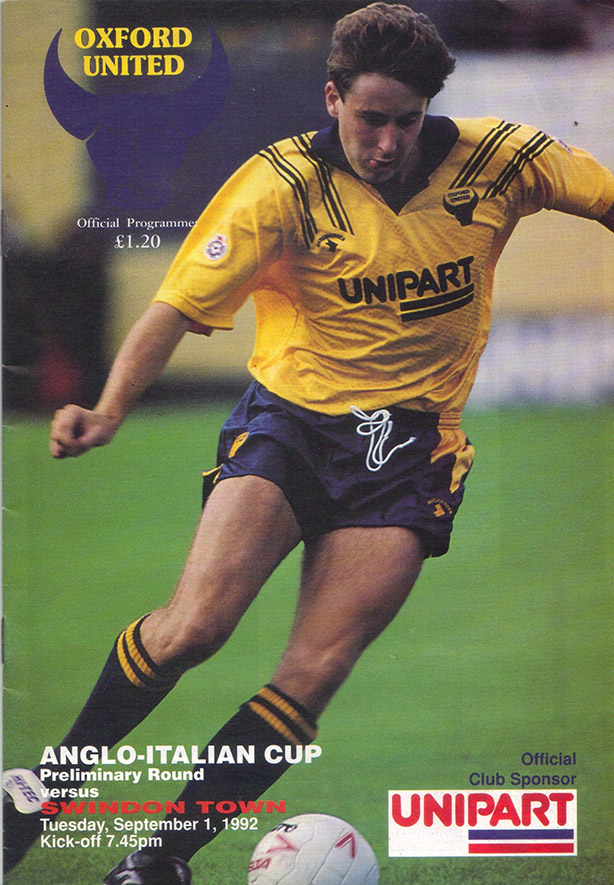 Tuesday, September 1, 1992 - vs. Oxford United (Away)