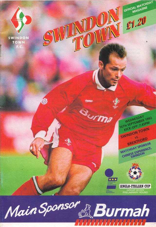 <b>Wednesday, September 16, 1992</b><br />vs. Brentford (Home)