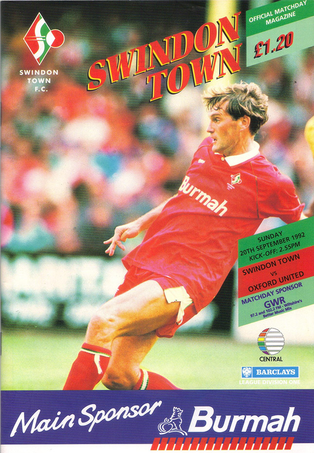 Sunday, September 20, 1992 - vs. Oxford United (Home)