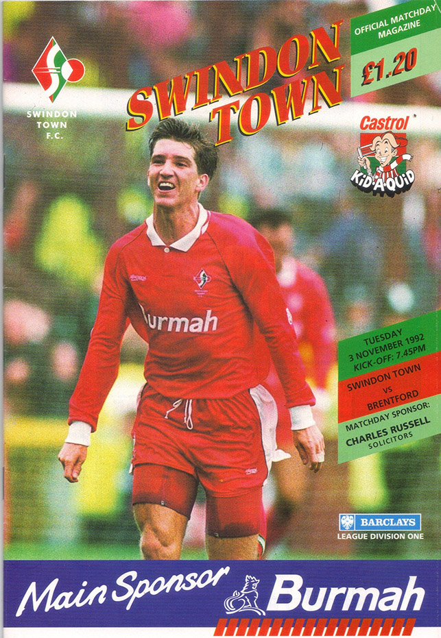 Tuesday, November 3, 1992 - vs. Brentford (Home)