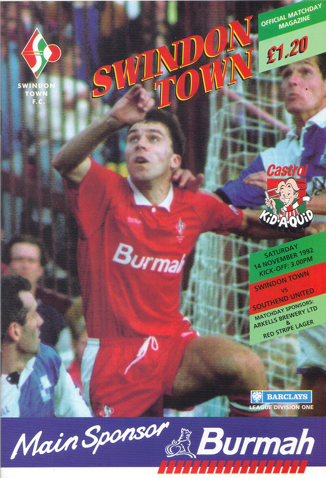Saturday, November 14, 1992 - vs. Southend United (Home)