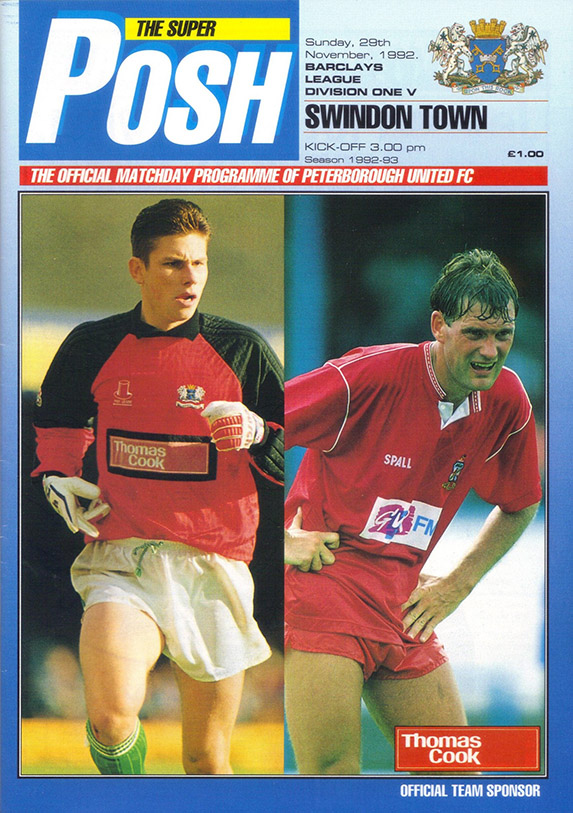 Sunday, November 29, 1992 - vs. Peterborough United (Away)