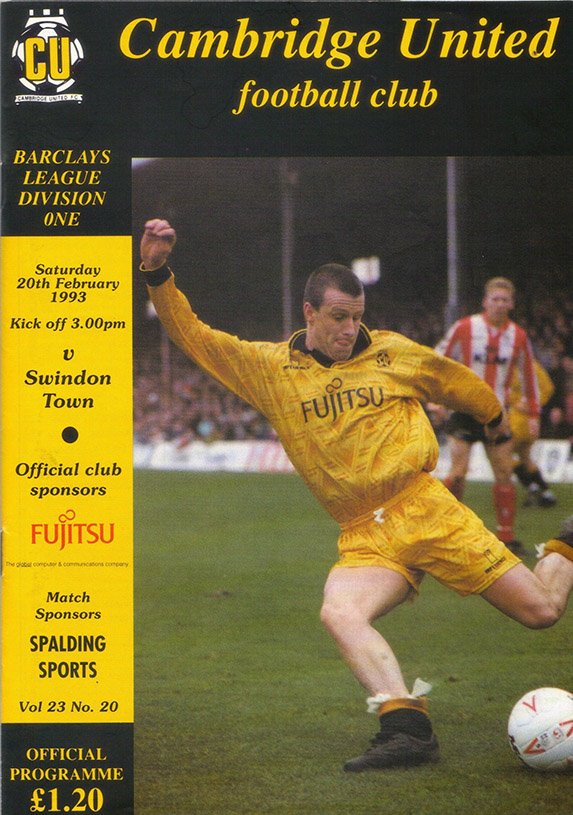 <b>Saturday, February 20, 1993</b><br />vs. Cambridge United (Away)