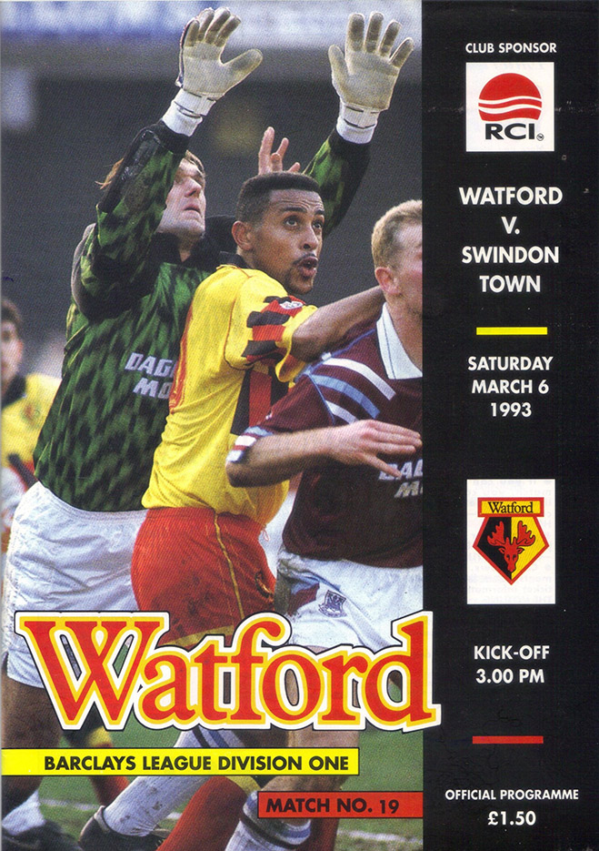 <b>Saturday, March 6, 1993</b><br />vs. Watford (Away)