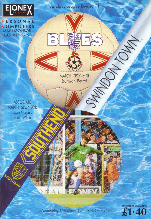 <b>Wednesday, March 10, 1993</b><br />vs. Southend United (Away)