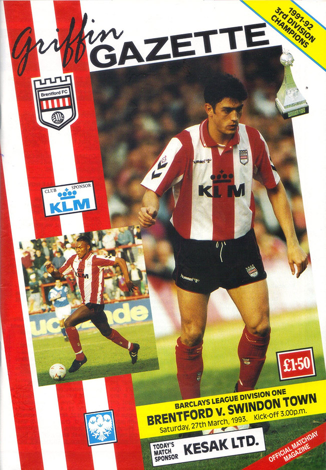 Saturday, March 27, 1993 - vs. Brentford (Away)