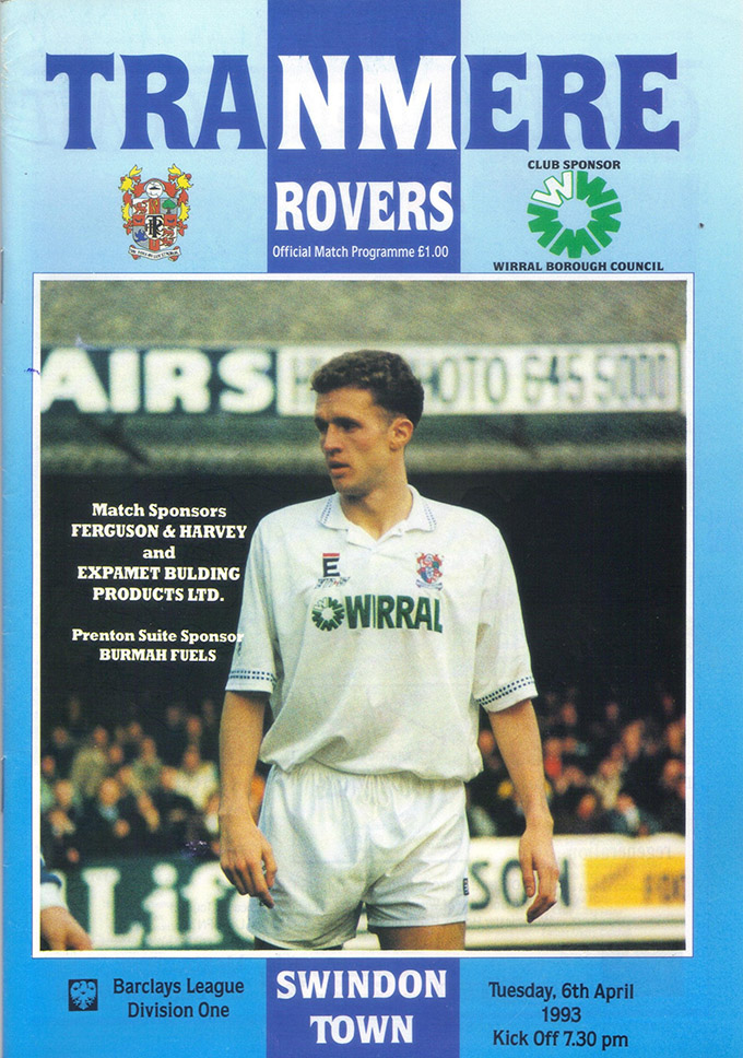 Tuesday, April 6, 1993 - vs. Tranmere Rovers (Away)