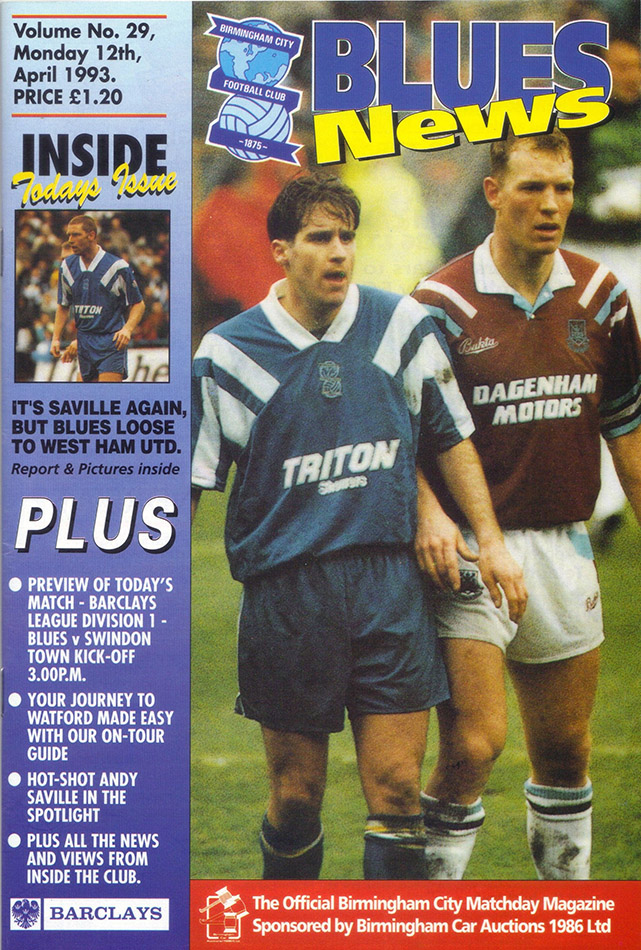 Monday, April 12, 1993 - vs. Birmingham City (Away)