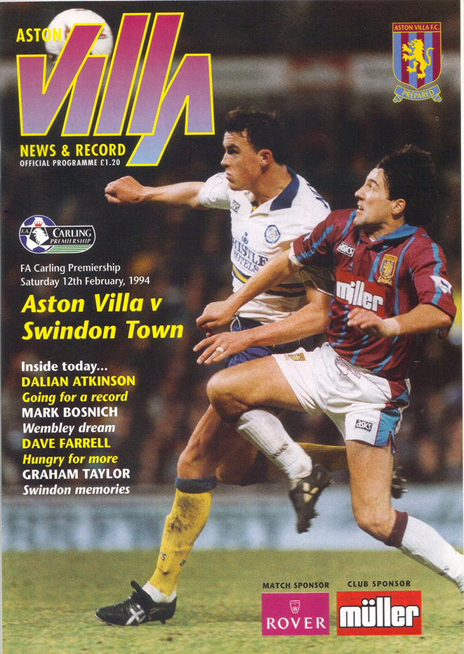 Saturday, February 12, 1994 - vs. Aston Villa (Away)