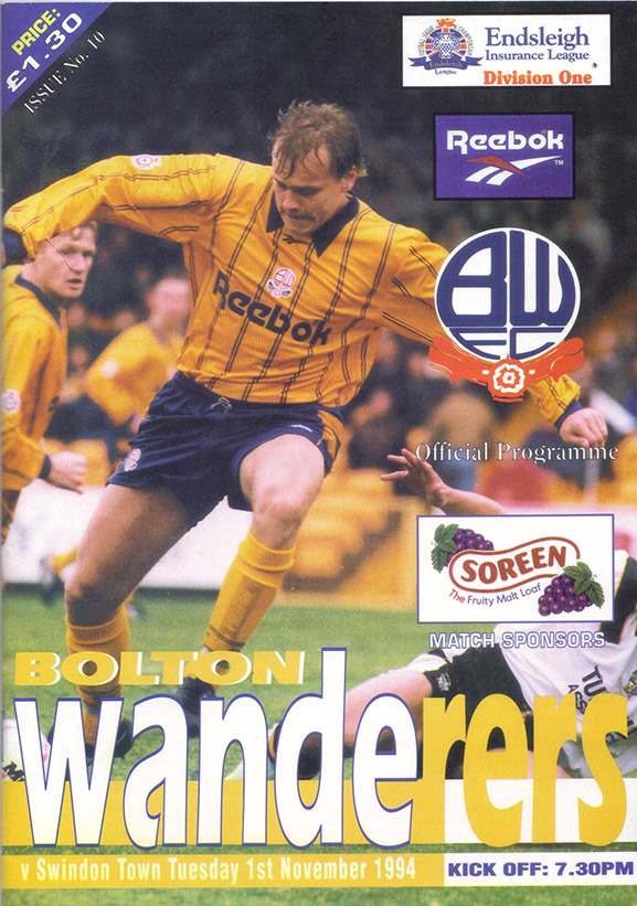 <b>Tuesday, November 1, 1994</b><br />vs. Bolton Wanderers (Away)