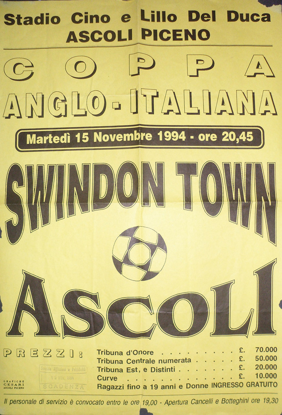 <b>Tuesday, November 15, 1994</b><br />vs. Ascoli Calcio 1898 (Away)