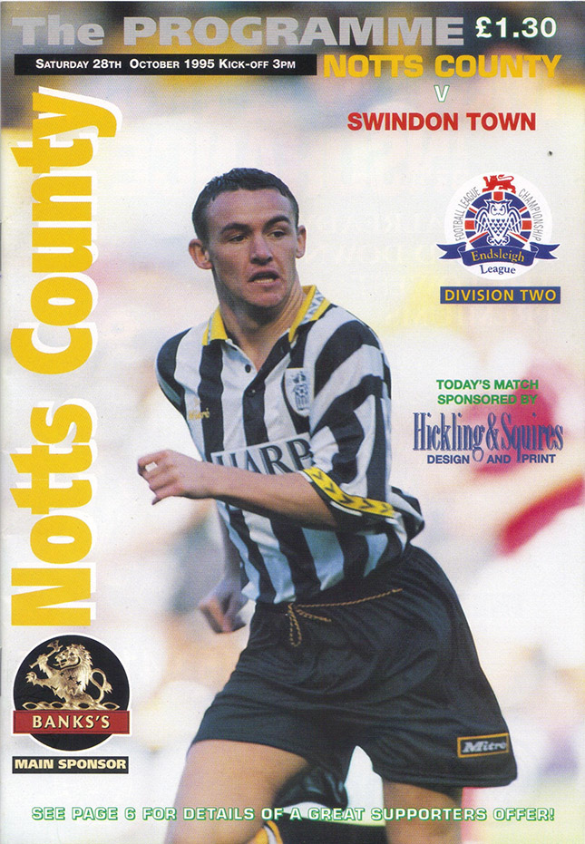 Saturday, October 28, 1995 - vs. Notts County (Away)