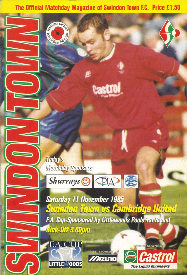 Saturday, November 11, 1995 - vs. Cambridge United (Home)