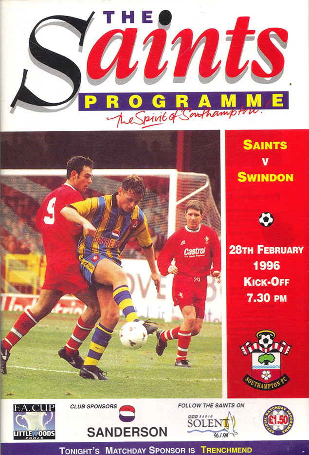 Wednesday, February 28, 1996 - vs. Southampton (Away)