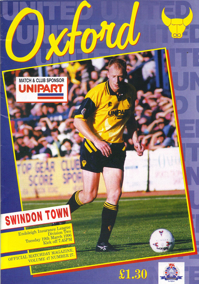 Tuesday, March 19, 1996 - vs. Oxford United (Away)