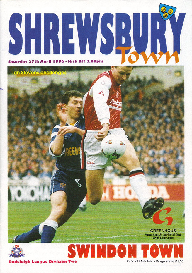 Saturday, April 27, 1996 - vs. Shrewsbury Town (Away)