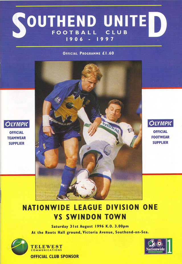 Saturday, August 31, 1996 - vs. Southend United (Away)