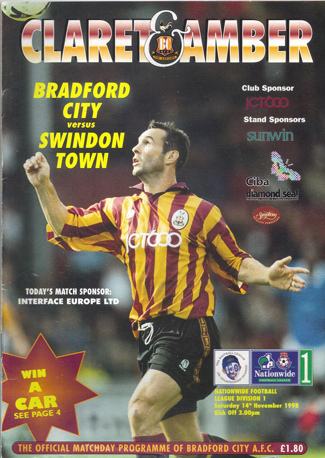 Saturday, November 14, 1998 - vs. Bradford City (Away)