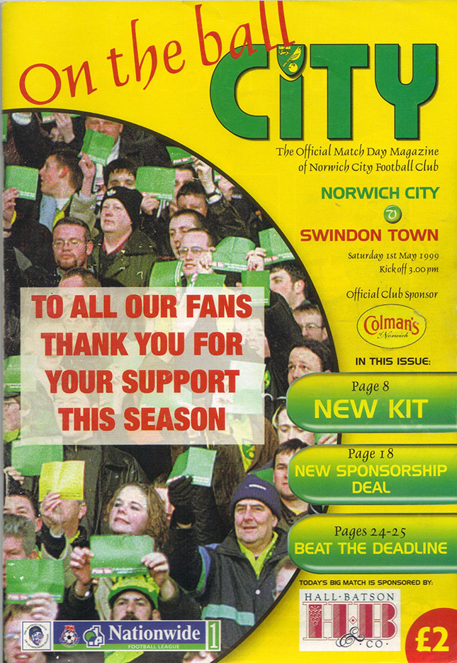 Saturday, May 1, 1999 - vs. Norwich City (Away)