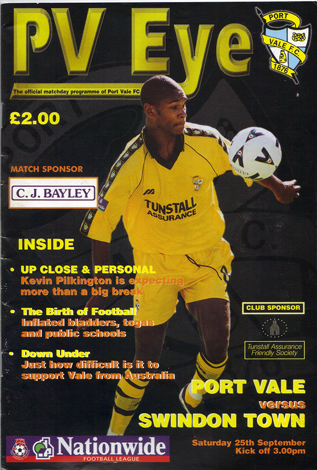 Saturday, September 25, 1999 - vs. Port Vale (Away)