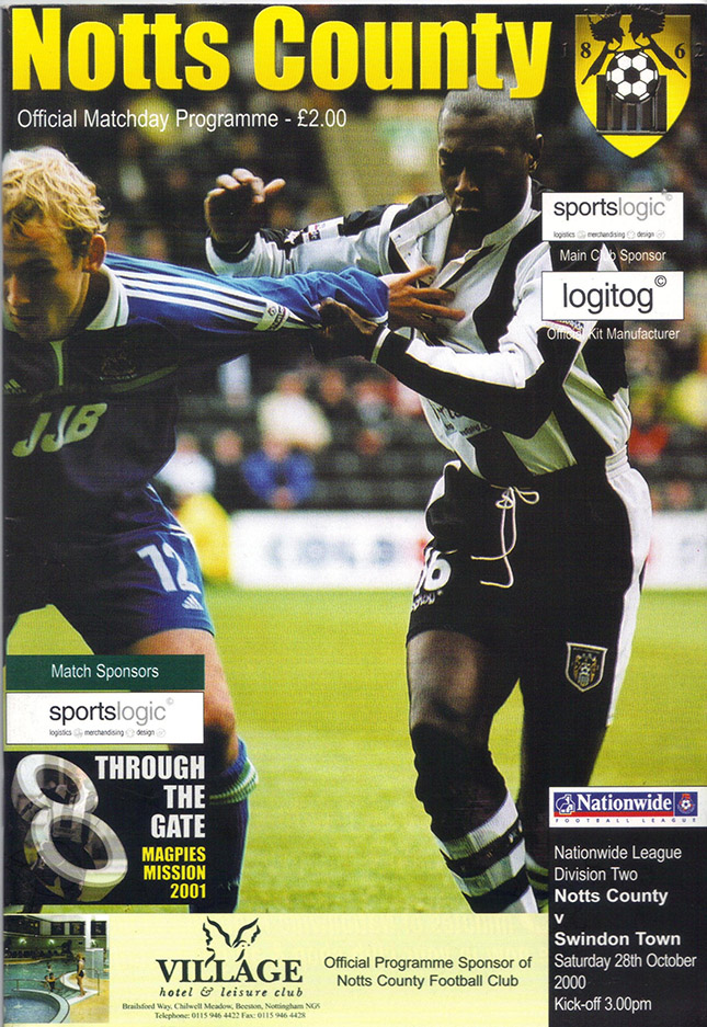Saturday, October 28, 2000 - vs. Notts County (Away)