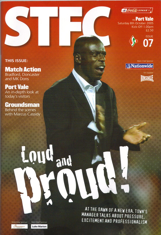Saturday, October 8, 2005 - vs. Port Vale (Home)