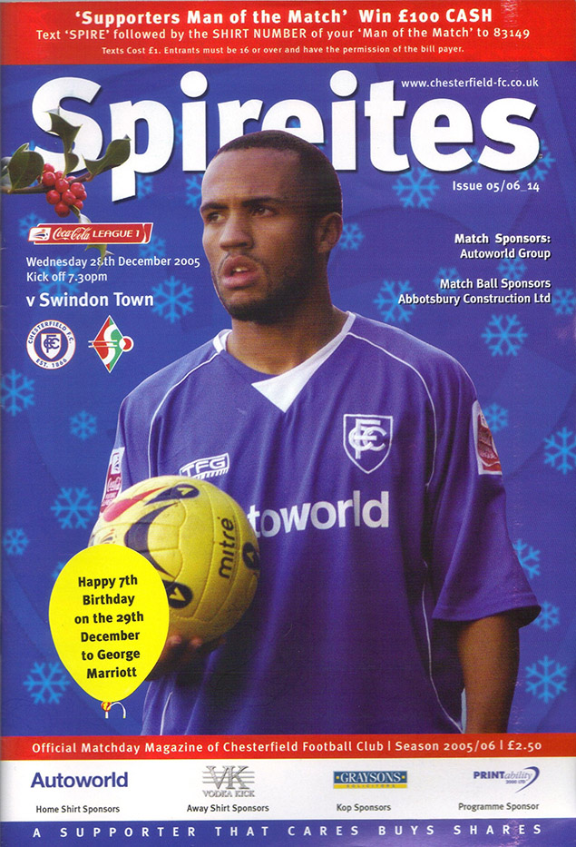Wednesday, December 28, 2005 - vs. Chesterfield (Away)