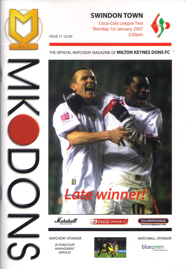 Monday, January 1, 2007 - vs. Milton Keynes Dons (Away)