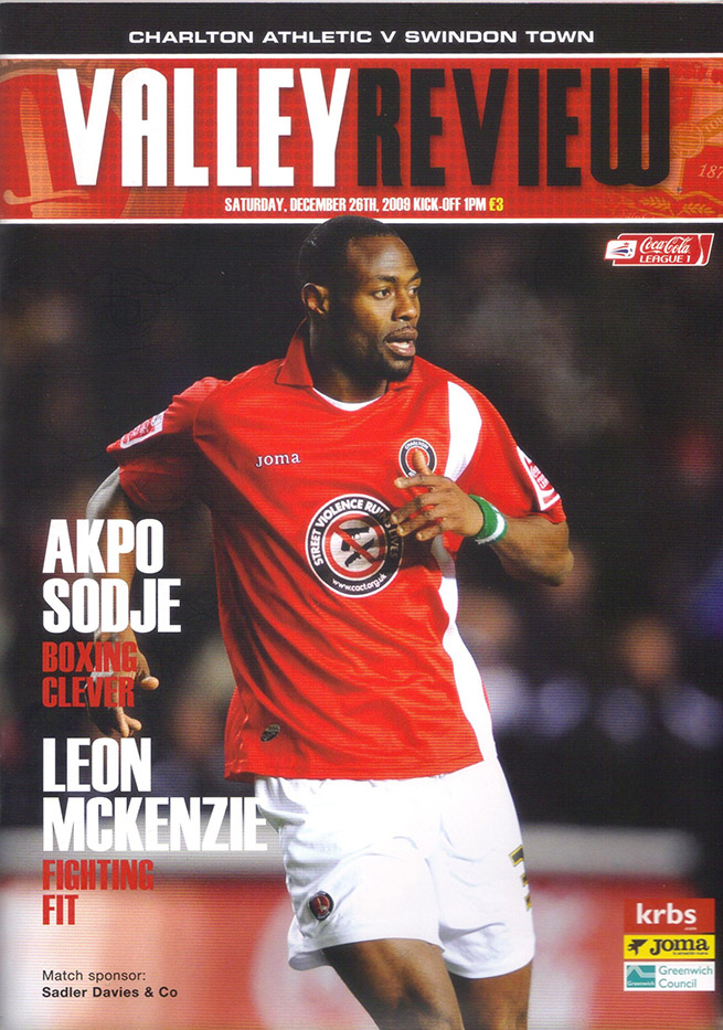 <b>Saturday, December 26, 2009</b><br />vs. Charlton Athletic (Away)
