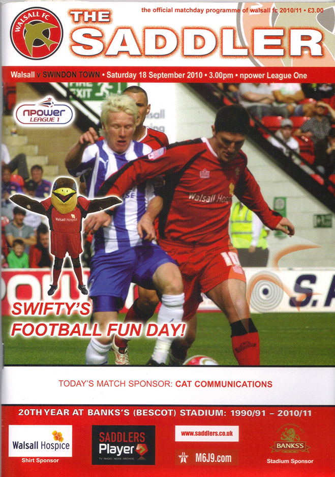 <b>Saturday, September 18, 2010</b><br />vs. Walsall (Away)