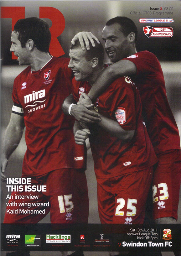 <b>Saturday, August 13, 2011</b><br />vs. Cheltenham Town (Away)