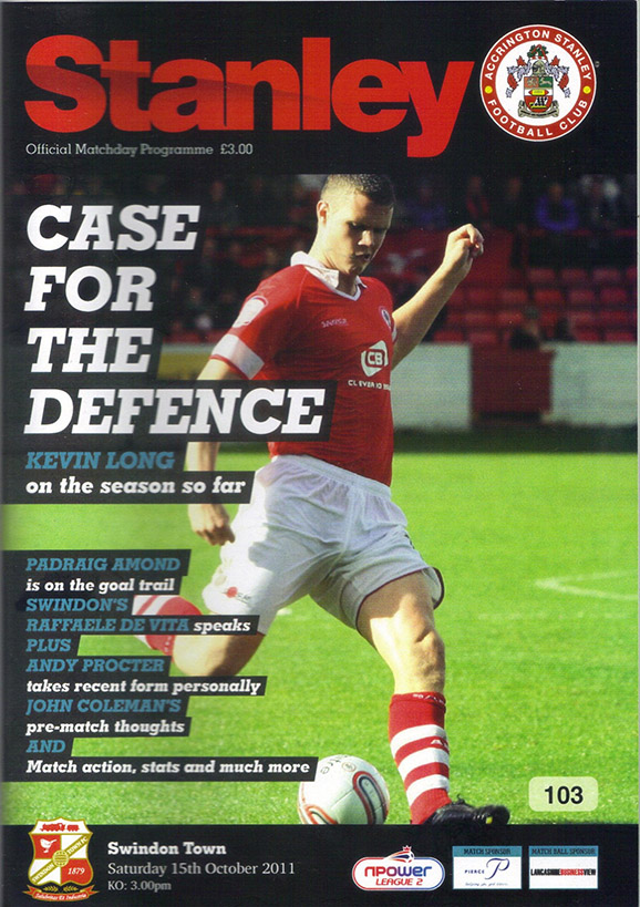 <b>Saturday, October 15, 2011</b><br />vs. Accrington Stanley (Away)