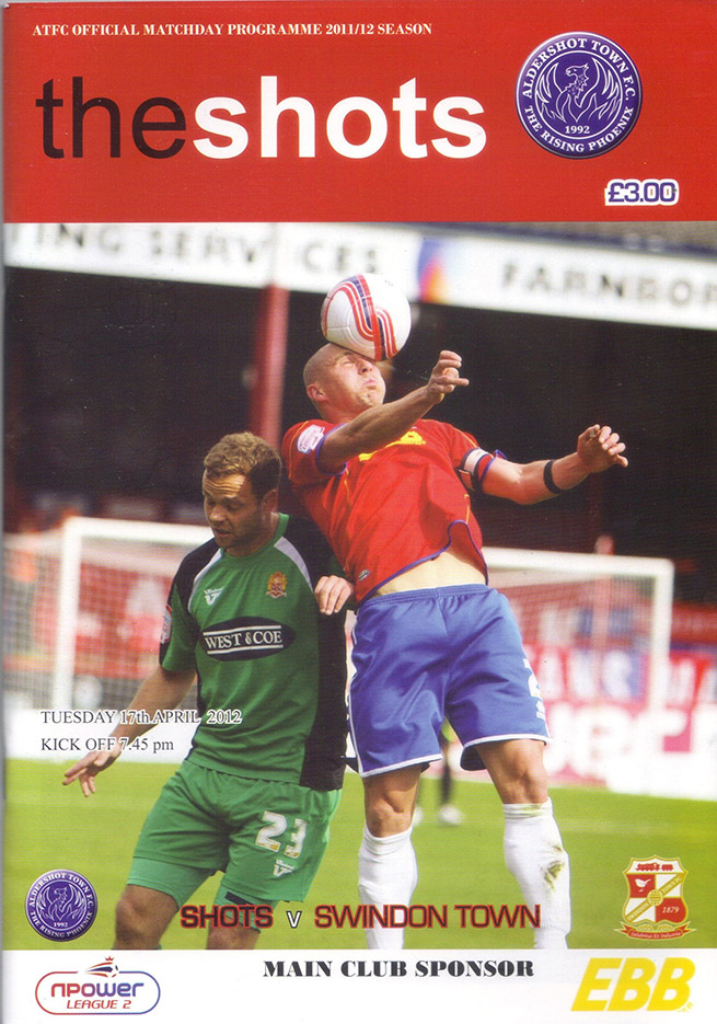 <b>Tuesday, April 17, 2012</b><br />vs. Aldershot Town (Away)